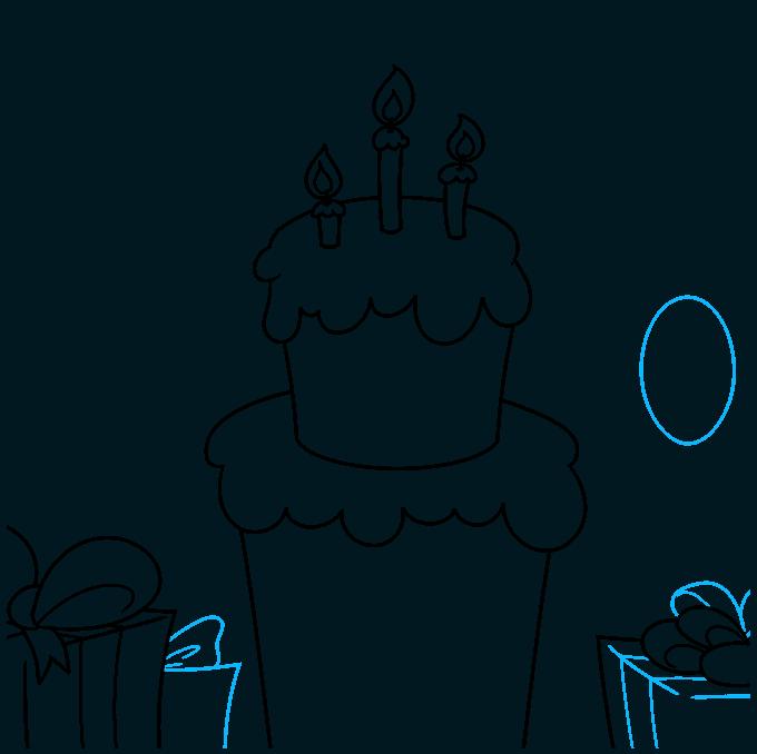 happy birthday card step-by-step drawing tutorial: step 06