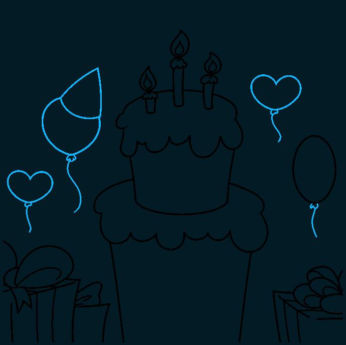 happy birthday card step-by-step drawing tutorial: step 07
