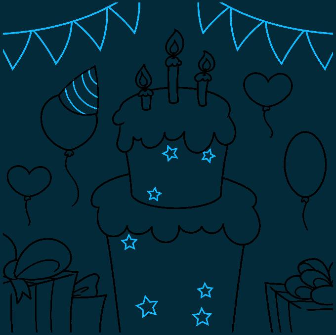 happy birthday card step-by-step drawing tutorial: step 08