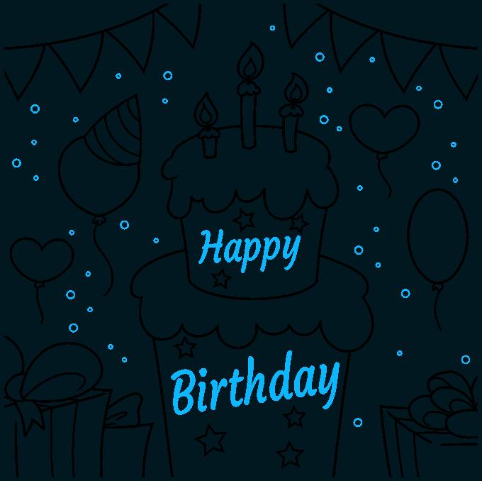 happy birthday card step-by-step drawing tutorial: step 09
