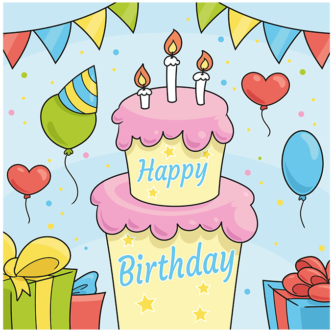 happy birthday card step-by-step drawing tutorial: step 10
