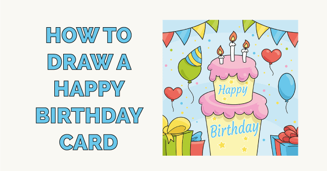 how to draw a happy birthday card featured image