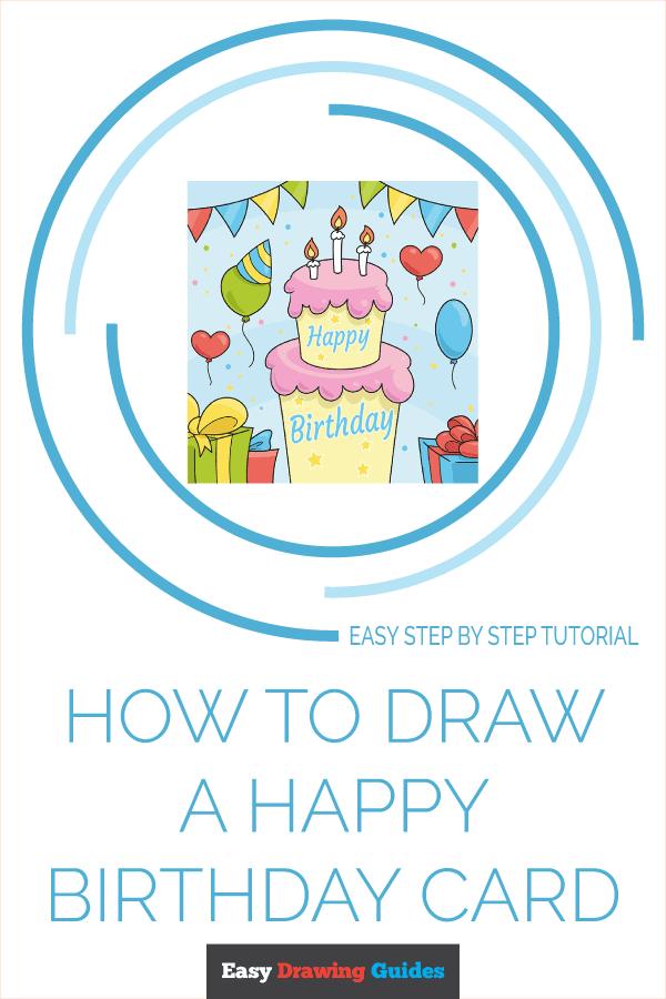 how to draw a happy birthday card pinterest image