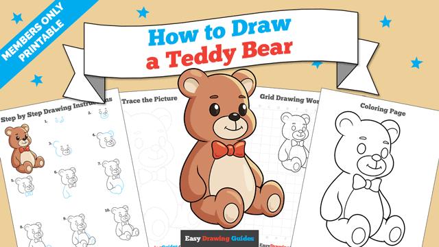 Printables thumbnail: How to Draw a Teddy Bear