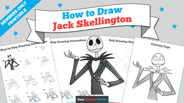 Printables thumbnail: How to Draw Jack Skellington from the Nightmare before Christmas