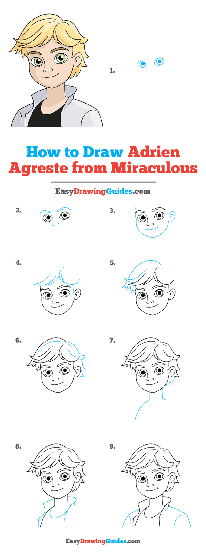 how to draw adrien agreste from miraculous step by step tutorial image