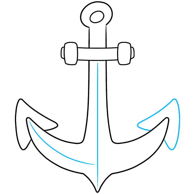 Anchor step-by-step drawing tutorial: step 06