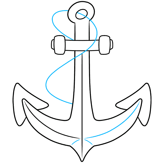 Anchor step-by-step drawing tutorial: step 07