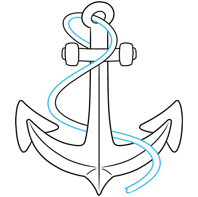 Anchor step-by-step drawing tutorial: step 08