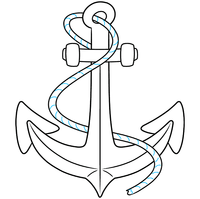 Anchor step-by-step drawing tutorial: step 09