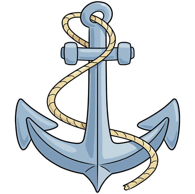 Anchor step-by-step drawing tutorial: step 10