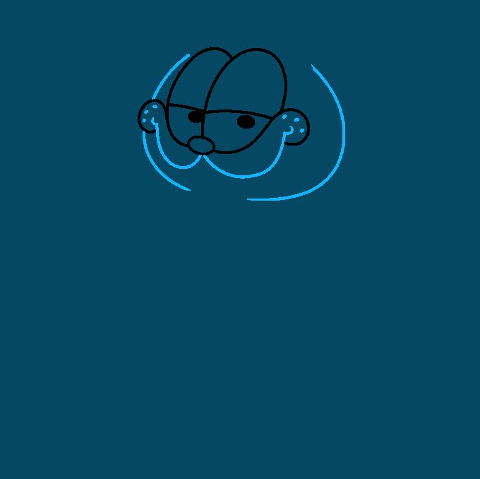 Garfield step-by-step drawing tutorial: step 02