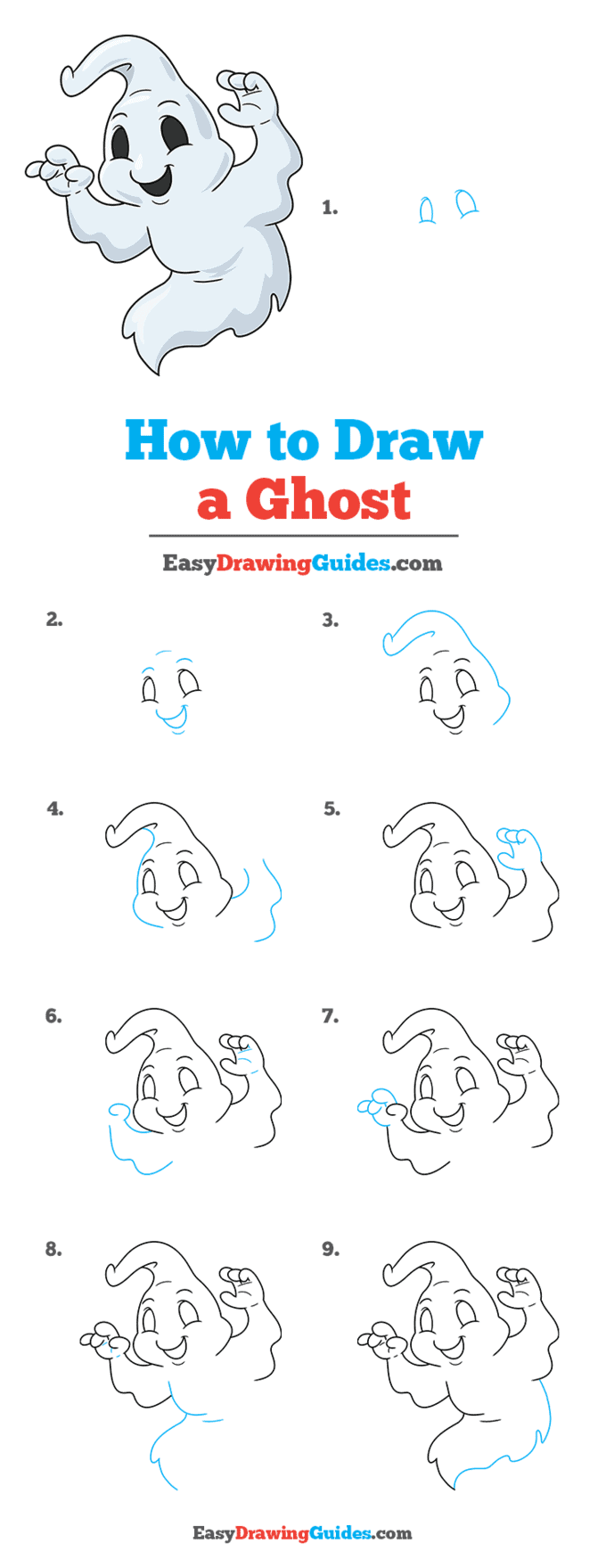 how to draw a ghost step by step tutorial image