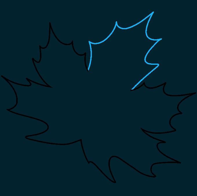 Leaf step-by-step drawing tutorial: step 06