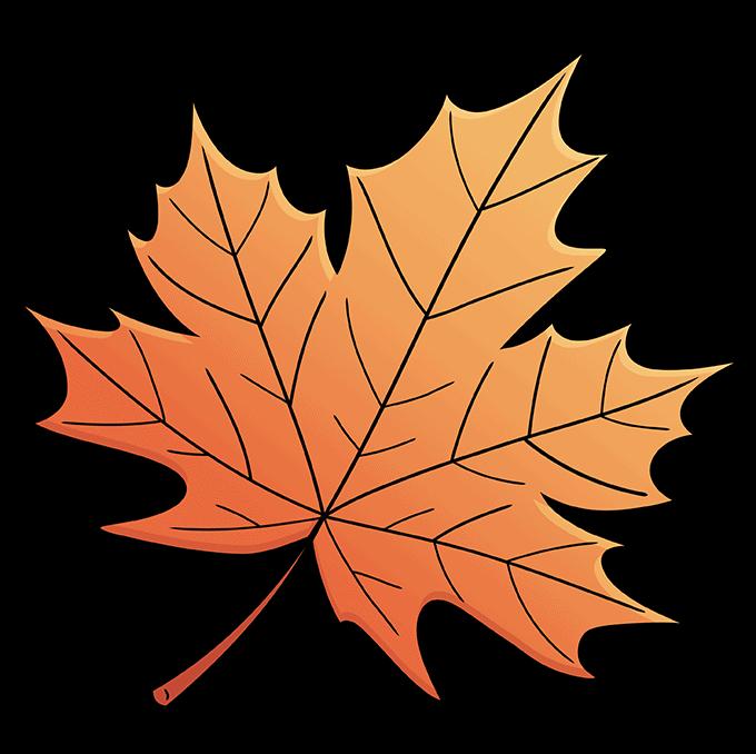 Leaf step-by-step drawing tutorial: step 10