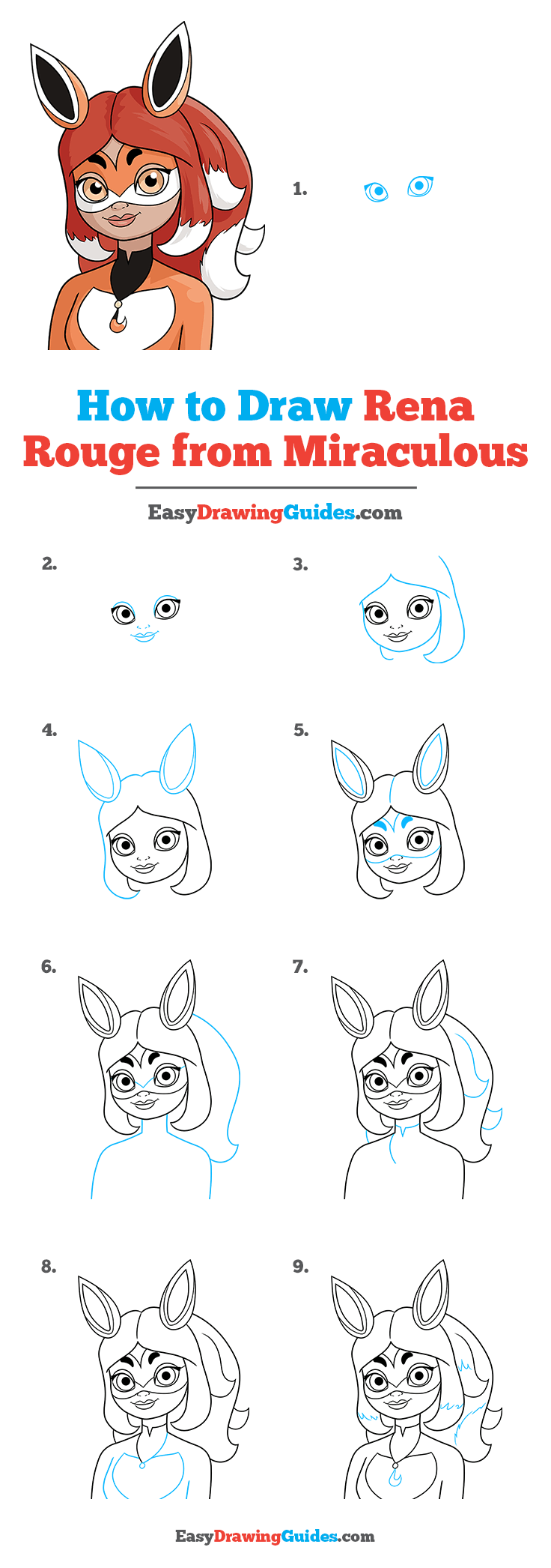 how to draw rena rouge from miraculous step by step tutorial image