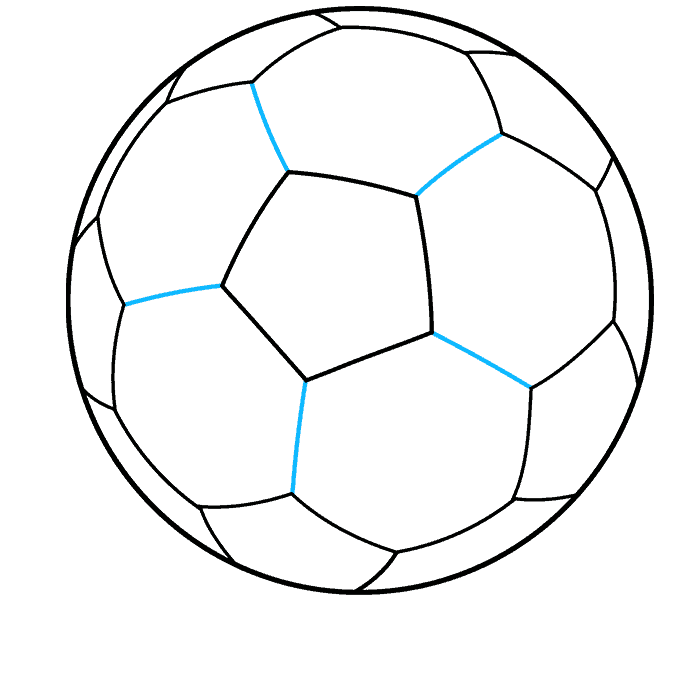Soccer Ball step-by-step drawing tutorial: step 09