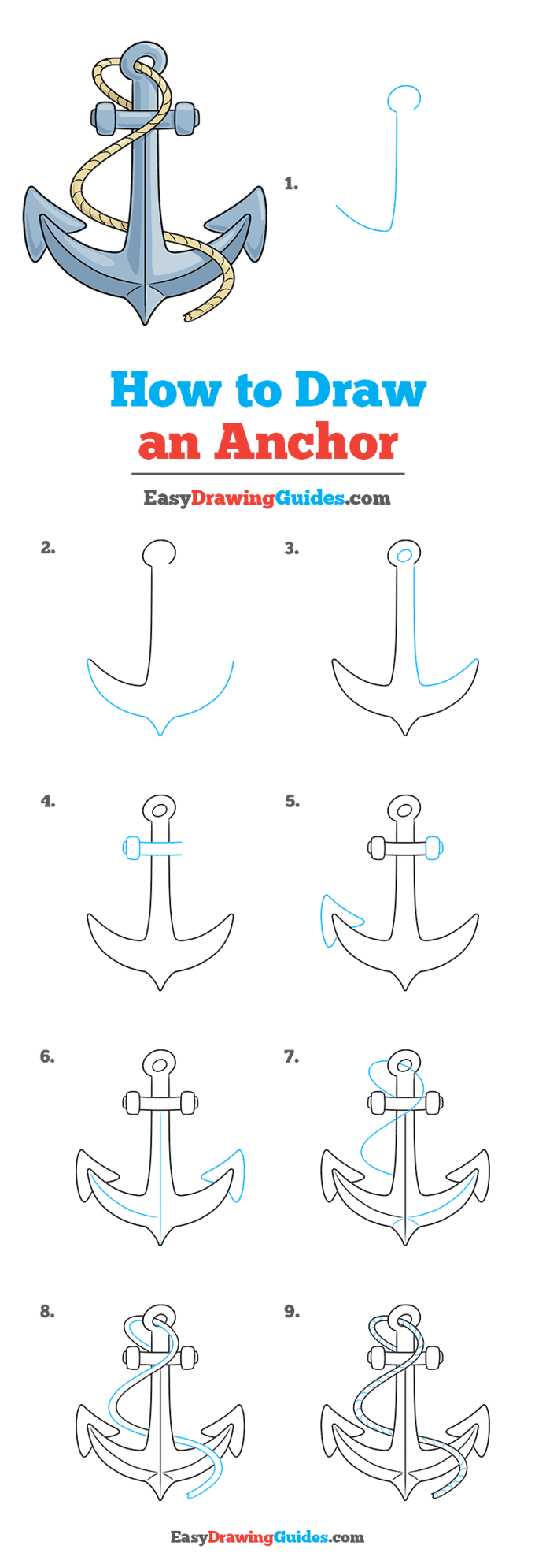 how to draw an anchor step by step tutorial image