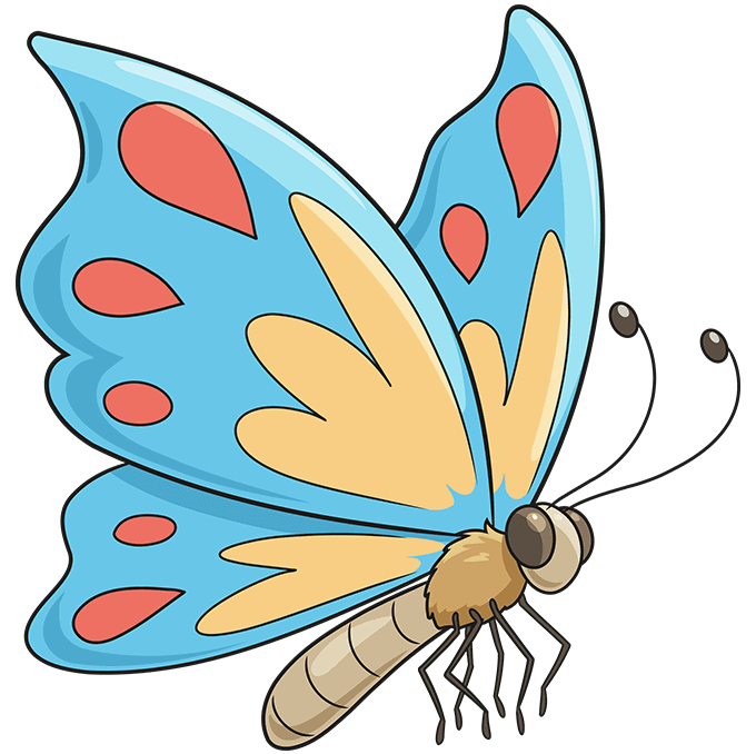 cartoon butterfly step-by-step drawing tutorial: step 10