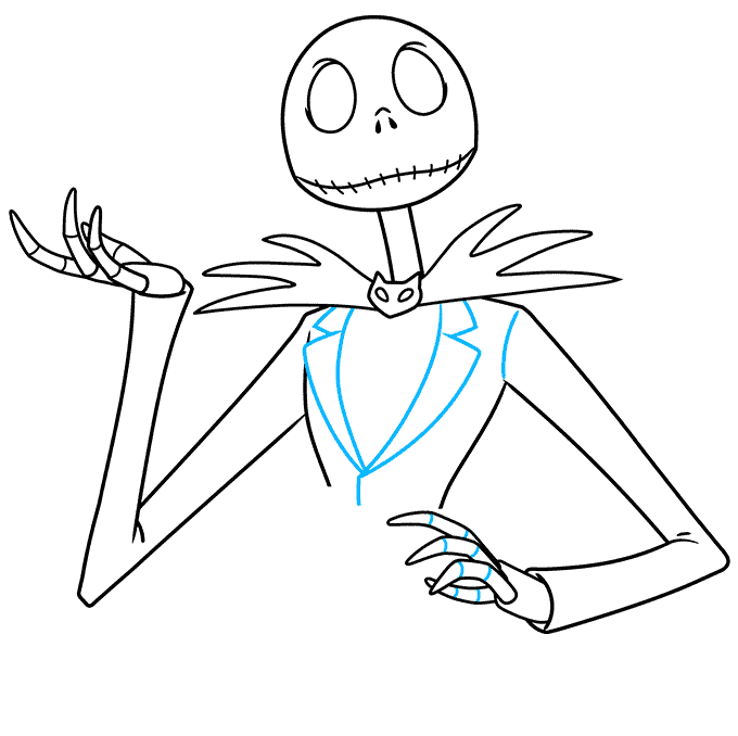 jack skellington from the nightmare before christmas step-by-step drawing tutorial: step 07