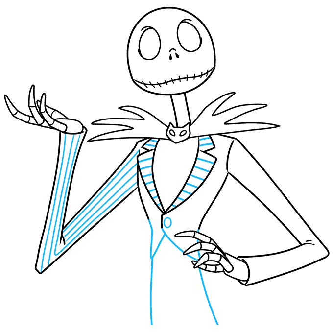 jack skellington from the nightmare before christmas step-by-step drawing tutorial: step 08