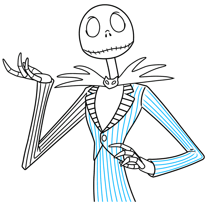 jack skellington from the nightmare before christmas step-by-step drawing tutorial: step 09