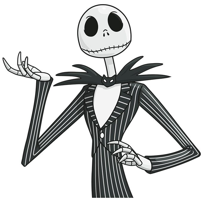 jack skellington from the nightmare before christmas step-by-step drawing tutorial: step 10