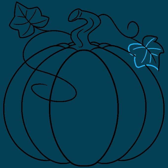 pumpkin step-by-step drawing tutorial: step 09