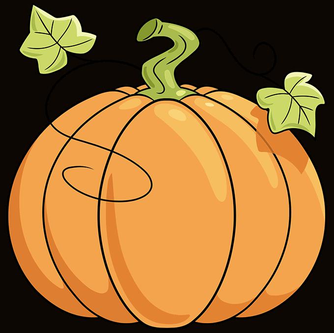 pumpkin step-by-step drawing tutorial: step 10