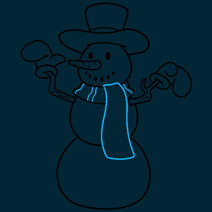 snowman step-by-step drawing tutorial: step 08