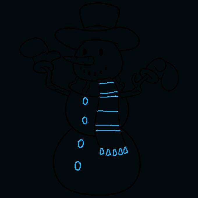 snowman step-by-step drawing tutorial: step 09