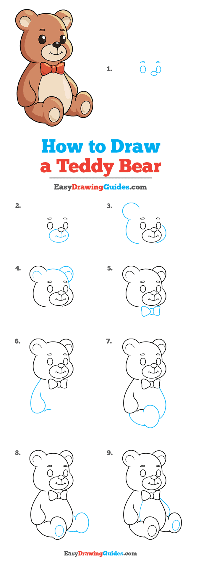 how to draw a teddy bear step by step tutorial image